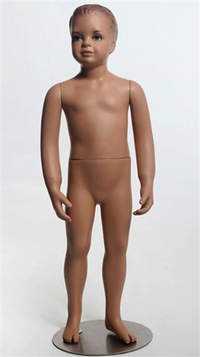 "38"" Tall Male Child Mannequin has realistic facial features and molded hair."