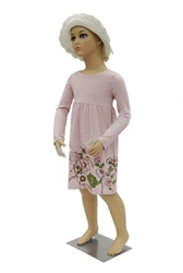 5 year old child in standing pose. Unisex child mannequin with realistic facial features.