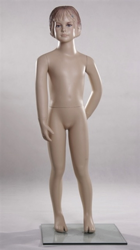 Female Child Mannequin with Molded Hair and Realistic Facial Features