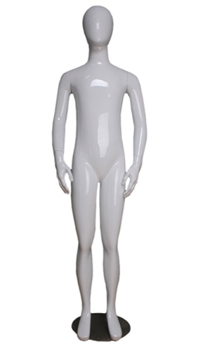 "5'2"" Tall Child Mannequin Egghead in White"