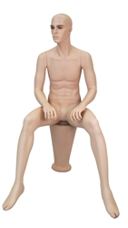 Realistic Male Mannequin seated with arms on knees with post