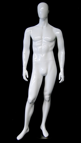 Glossy White Male Egghead Mannequin