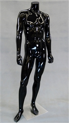 Headless Male Mannequin in Glossy Black with Straight On Pose from www.zingdisplay.com