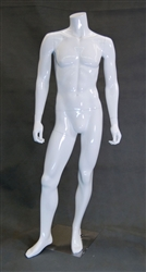 Headless Male Mannequin in Glossy WHITE with Straight On Pose from www.zingdisplay.com