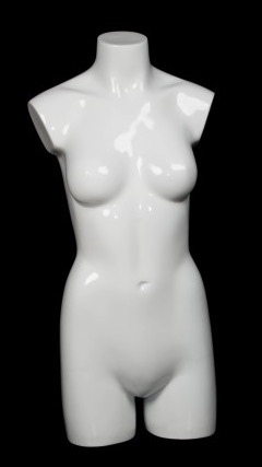 Glossy White 3/4 Female Mannequin Torso Display