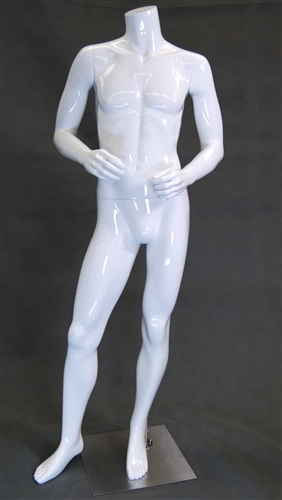 Headless Male Mannequin in Glossy White with Straight On Pose  and Arms Bent from www.zingdisplay.com