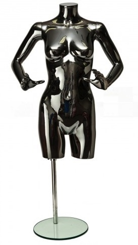 Glossy Black 3/4 Torso Female Mannequin Display With Arms