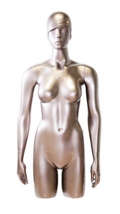Shiny Pewter 3/4 Torso Female Mannequin with Trendy Head