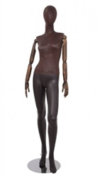 Brown Leatherette Female Egghead Mannequin with Posable Arms