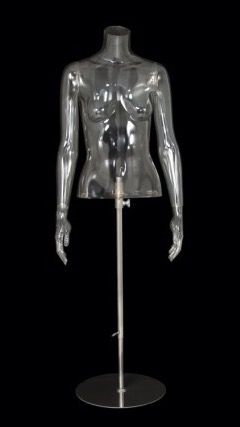 Clear 1/2 Torso Female Mannequin Display with Arms