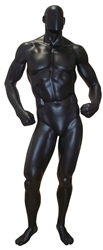 Black Matte Muscular Male Mannequin.  Bodybuilder physique.  Fiberglass construction