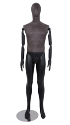 Distressed Leather-Like Mixed Fabric Male Mannequin Bendable Arms