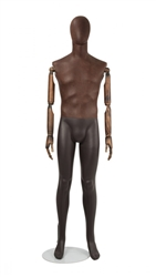 Brown Leather-Like Mixed Fabric Male Mannequin Bendable Arms