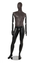 Distressed Leather-Like Mixed Fabric Male Mannequin Bendable Arms Leg Out