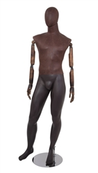 Brown Leather-Like Mixed Fabric Male Mannequin Bendable Arms Leg Out