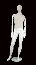 Linen Mixed Fabric Male Mannequin Bendable Arms Left Leg Out