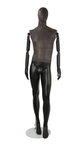 Distressed Leather-Like Mixed Fabric Male Mannequin Bendable Arms Leg Bent