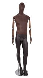 Brown Leather-Like Mixed Fabric Male Mannequin Bendable Arms Leg Bent