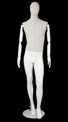 Linen Mixed Fabric Male Mannequin Bendable Arms Right Leg Bent