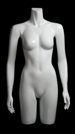 Glossy White 3/4 Torso Female Mannequin with Arms