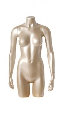 Shiny Pewter 3/4 Torso Female Mannequin with Arms