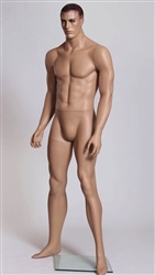 Male Mannequin with Realistic Facial Features and Molded Hair