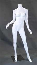 Headless Glossy White Female Mannequin Arms Bent at Elbows