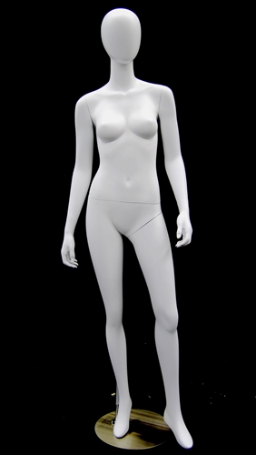 Matte White Female Egghead Mannequin with arms at sides in a standing pose.