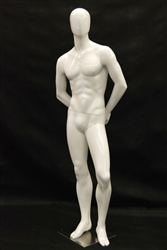 Gloss White Egghead Male Mannequin with arms behind back