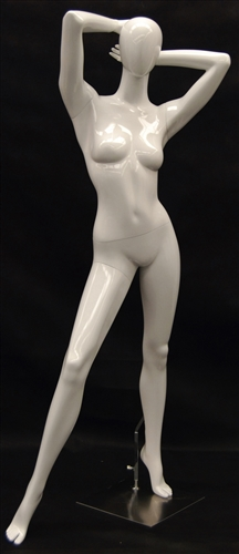 Glossy White Female Mannequin in Posed with Arms Behind Head from www.zingdisplay.com