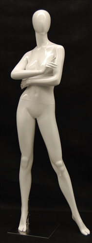 Glossy White Female Mannequin in Strong Professional Stance with Arms Folded