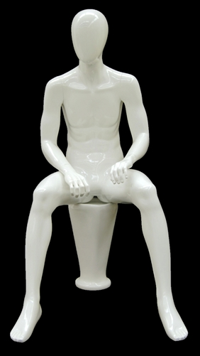 Seated Male Mannequin in Glossy White.  Stool Base Included.  Shop today at www.zingdisplay.com
