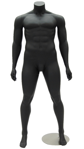 Matte Black Headless Male Mannequin - Arms at Sides from www.zingdisplay.com