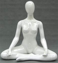 Yoga Mannequin Female in Pearl White made of Fiberglass