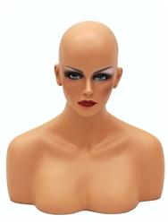 Female Display Head with Shoulder Bust in Tan. Nice counter top head display for jewelry, hats or wigs