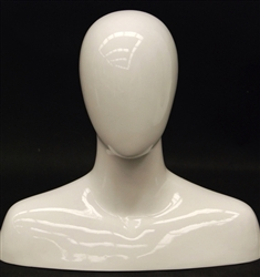 Male Display Head in Glossy White.  Has an egghead and shoulders.  Perfect for displaying hats and scarves.