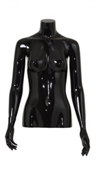 Glossy Black 1/2 Torso Female Mannequin with Arms