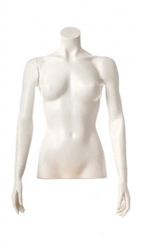 Glossy White 1/2 Torso Female Mannequin with Arms