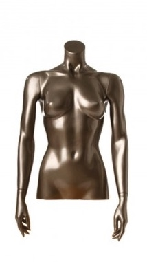 Shiny Pewter 1/2 Torso Female Mannequin with Arms