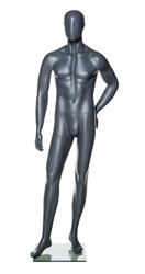 Grey Male Mannequin with Abstract Egghead from www.zingdisplay.com