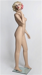 Realistic Flirty Female Flesh Tone Mannequin Blowing a Kiss