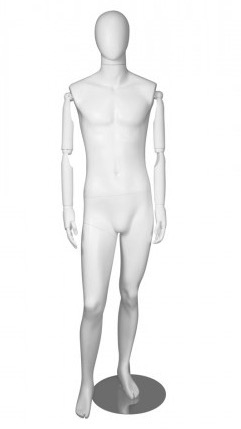 Matte White Male Egghead Mannequin Posable Arms