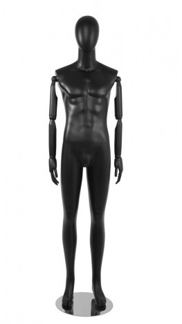 Matte Black Male Egghead Mannequin Posable Arms