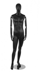 Matte Black Male Egghead Mannequin Posable Arms and Fingers