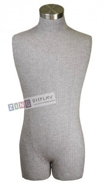 Pale Green Herringbone Fabric Male 3/4 Torso Display Form
