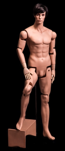 Adjustable Male Mannequin in Tan Fleshtone from www.zingdisplay.com
