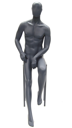 Gray Egghead Male Mannequin Casual Seated Pose