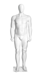 Middle-Aged Egghead Fiberglass Male Mannequin from www.zingdisplay.com.  Standing pose with arms at his side