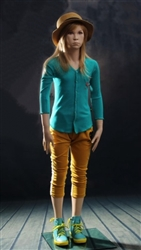 Female teenage mannequin with realistic facial features.