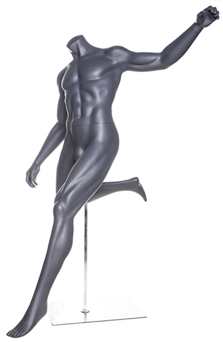 Headless Matte Gray Soccer Mannequin Kicking Pose.  This mannequin is in a dramatic pose, diving for the ball.  Made of fiberglass.